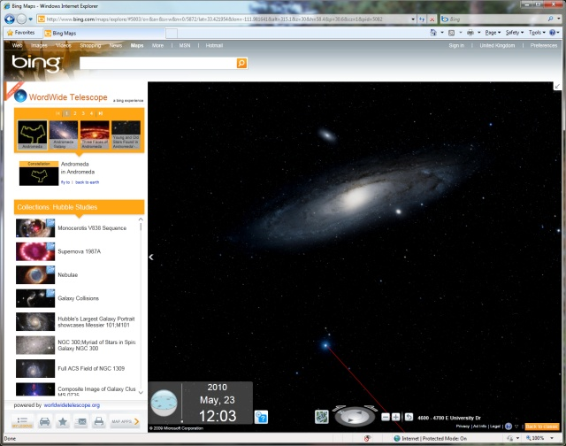 Bing Maps running WorldWide Telescope app