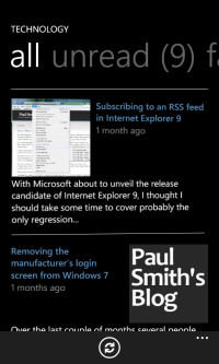 Paul Smith's Blog mobile application screenshot