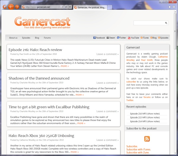 Gamercast as shown in IE9