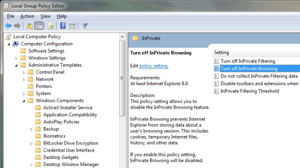 Group Policy Editor showing how to disable InPrivate