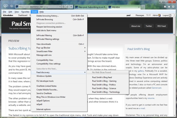 Subscribing to an RSS feed in Internet Explorer 9
