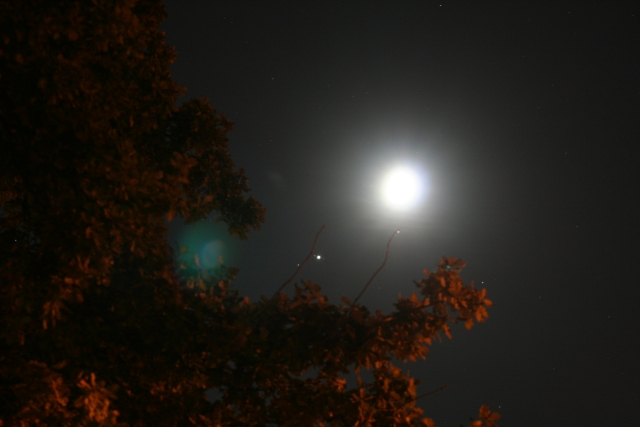 Close encounter between the Moon and Jupiter