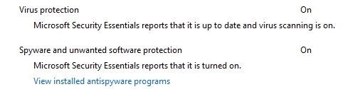 WIndows 7 Action Center reporting on Microsoft Security Center