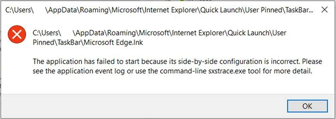 Edge has failed to start because its side-by-side configuration is incomplete