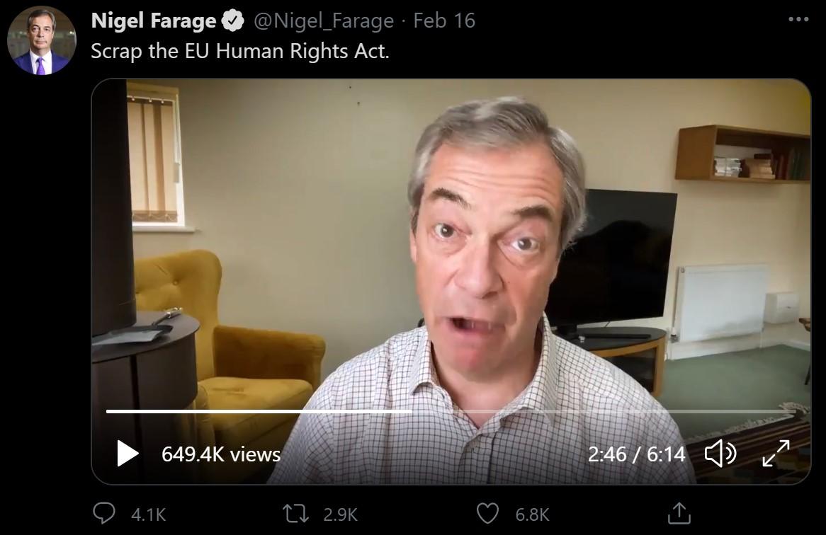 "Farage and ""EU"" human rights"
