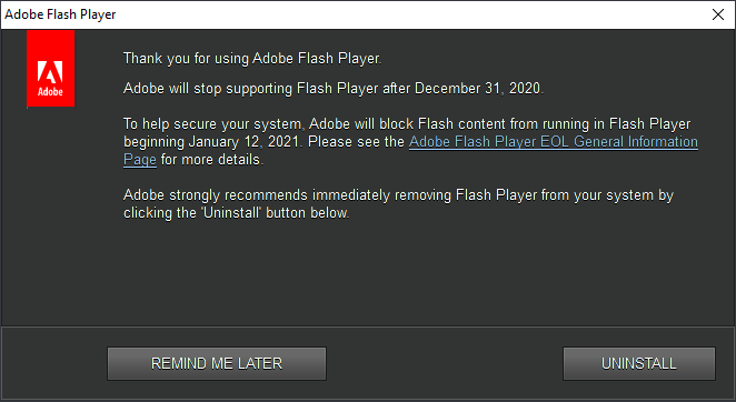 Adobe Flash end-of-life