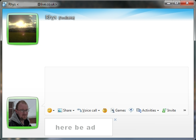 Conversation window in Windows Live Messenger (Wave 4)