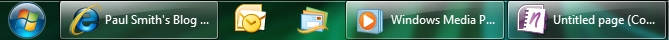 Windows 7 Taskbar with labels enabled