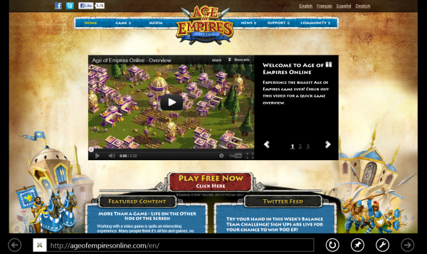 Age of Empires Online website