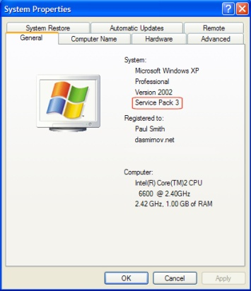 Windows XP System Properties